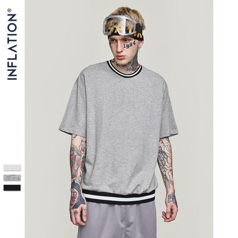 INFLATION Loose Fit T-shirt Men Streetwear 2019 Summer Short Sleeve Tee 100% Cotton Streetwear Tops Tee 8297S