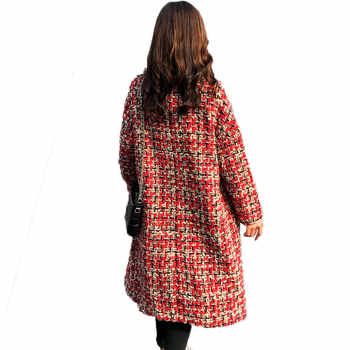 Autumn Winter Coat 2020 Woolen Overcoat Women Long Plaid Blend Coat Thick Wool Cashmere Coat Tweed Jacket Red Outwear 768