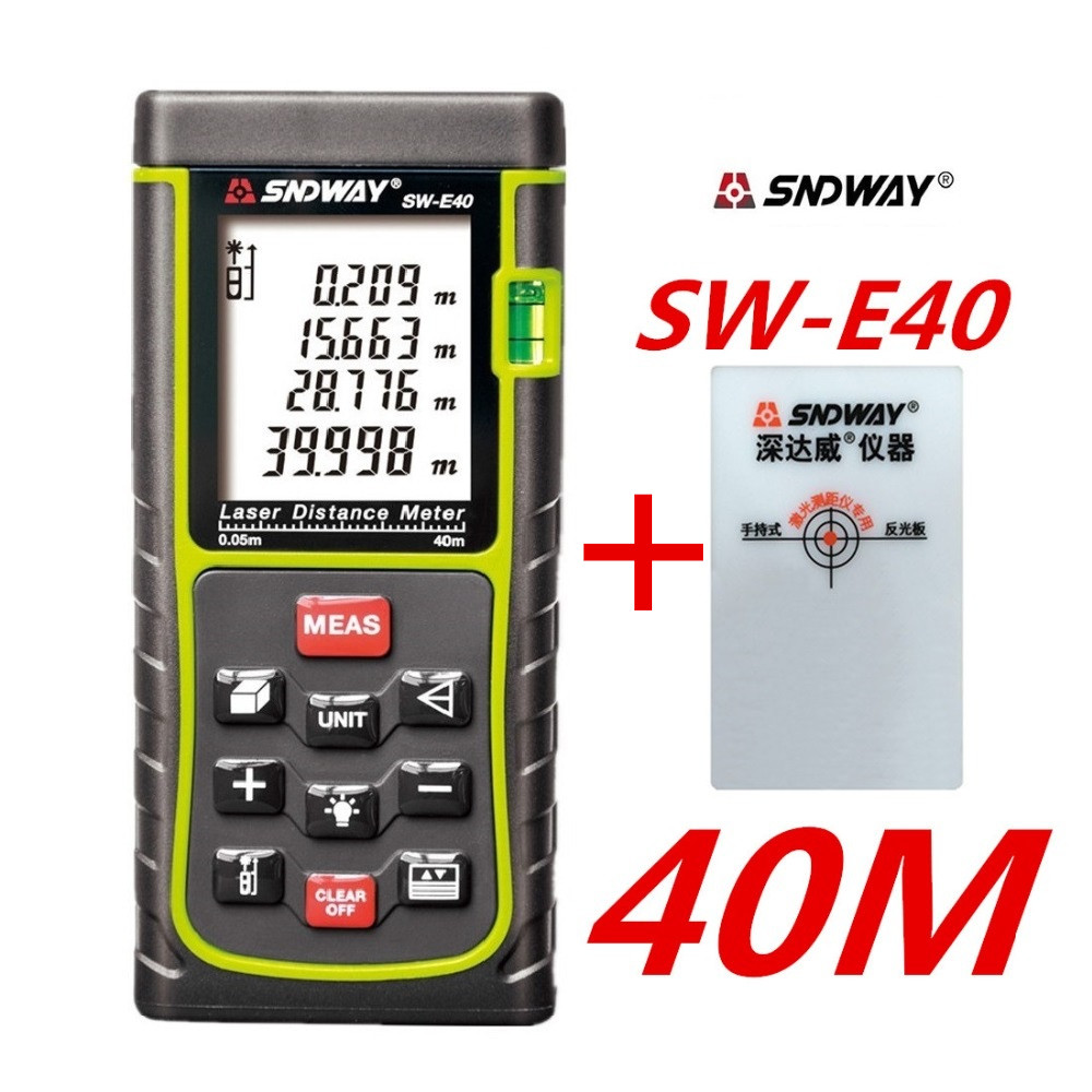 SNDWAY SW-E40 131ft Laser Rangefinder 40m Distance Meter Roulette Digital Laser Range Finder Tape distance-Area-volume tool sndway sw e40 rree shipping rz40 131ft laser rangefinder 40m distance meter digital laser range finder tape area volume angle