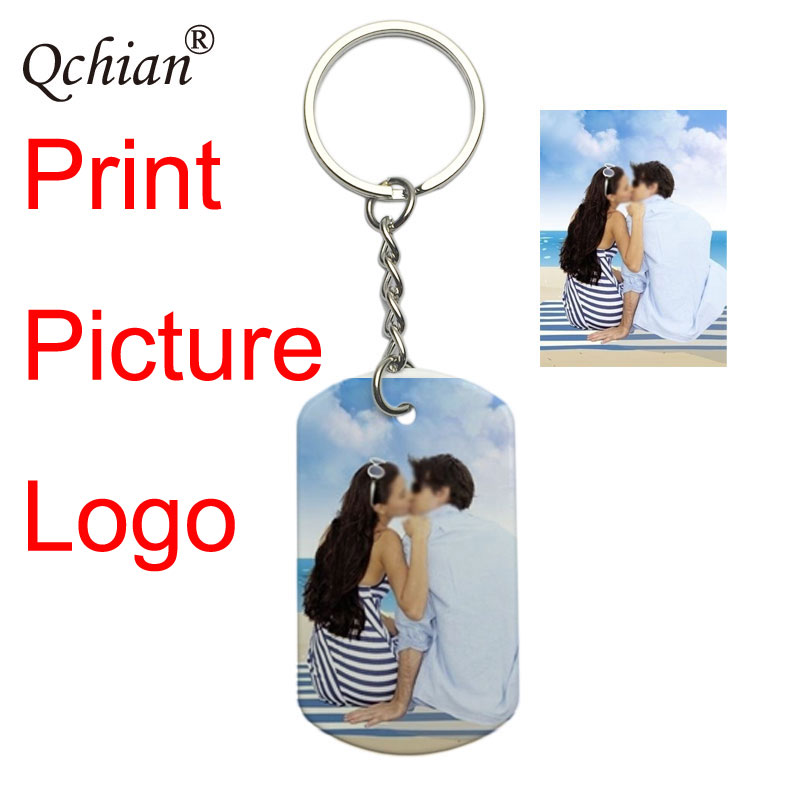 Custom DIY Tag Photo Keychain Stainless Steel Engraved photograph Keychain Keychain Charm Keyring Jewelry