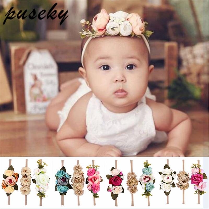 Puseky Handmade Flower Headband Baby Summer Newborn Headband Flower Crown Kids Matching Garland Hair Band Accessories   Headwear