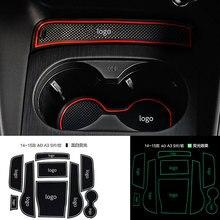 Anti slip Non slip Gomma Decorativo Supporto di Tazza Adesivo Porta Slot Pad Porta Scanalatura Zerbino per Audi A3 2014 2018 Cat Styling 9 Pcs