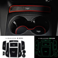 Anti slip Non slip Rubber Decorative Cup Holder Sticker Gate Slot Pad Door Groove Mat for Audi A3 2014 2018 Cat Styling 9 Pcs
