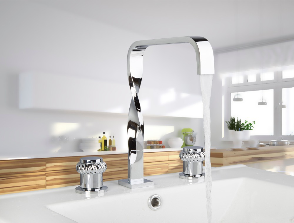 55F Hot/Cold Water Chrome Construction Waterfall Deck Mounted Bathroom Basin Sink Bathtub Double Handles Mixer Tap Faucet free shipping polished chrome finish new wall mounted waterfall bathroom bathtub handheld shower tap mixer faucet yt 5333