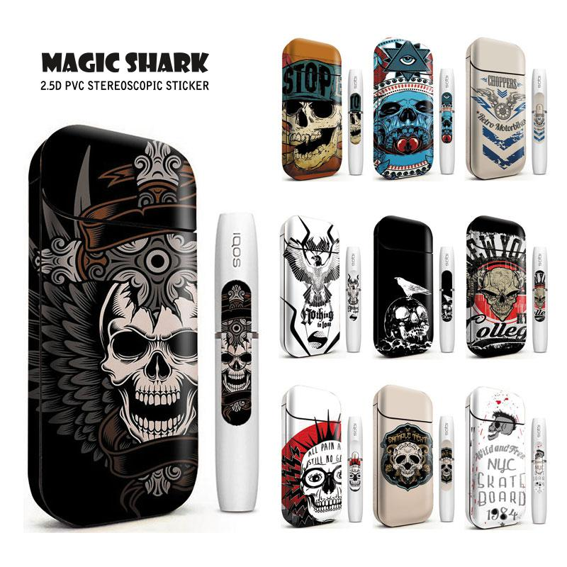 Magic Shark Sticker Stereo Film Skull Black Ultra Thin Printing Case Cover Electronic Cigarette Sticker Skin For IQOS 2.4 Plus