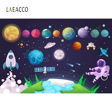 Cartoon Spaceship Astronaut Planet Starry Star Baby Birthday Party Pattern Photo Backgrounds Photography Backdrops Studio
