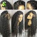 Deep Вьющиеся Кружева Фронтальная Парики Для Чернокожих Женщин Бразильского Виргинские Волос парики Glueless Полный Шнурок Человеческих Волос Вьющиеся Парики С Волосами Младенца