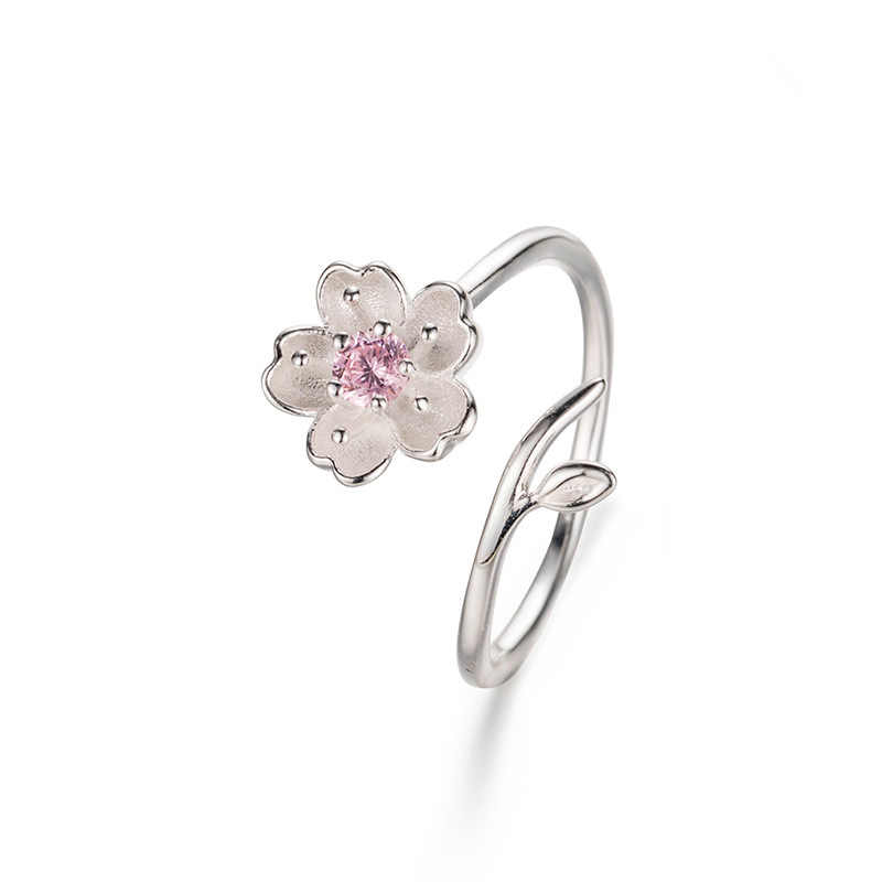 ใหม่ 925 เงินสเตอร์ลิง CZ Cheery ดอกไม้แหวนผู้หญิงขนาดแหวนหมั้นหญิงของขวัญ Party เครื่องประดับ Anillos