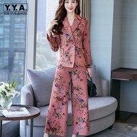 Fashion Vintage Elegant Print Flower Long Sleeve Blazer Two Piece Set Women Wide Leg Pants Suit Set Office Work Outfits S 3XL