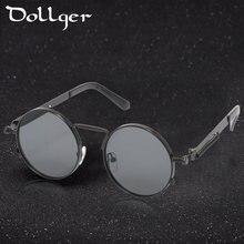 918f4dfea2ae88 Dollger Steampunk lunettes de Soleil Femmes Hommes 2017 Marque En Métal  Ronde Designer Rétro Vintage Objectif Clair Miroir Homme.