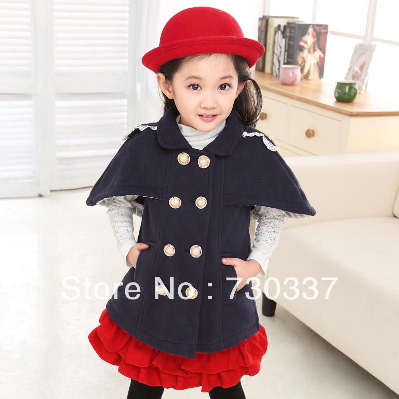 ФОТО Free shipping Winter girl cloak double-breasted coat lapels fleece children clothing