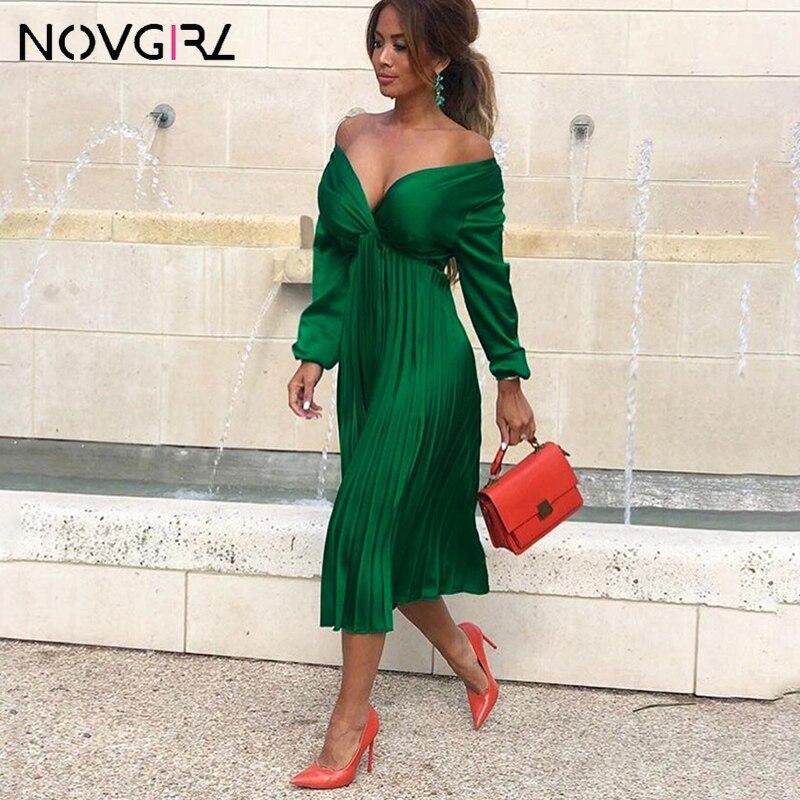 Novgirl Elegant Fit And Flare Pleated Satin Dress Women 2019 Summer Autumn Off Shoulder Long Sleeve Ladies Casual Green Vestidos