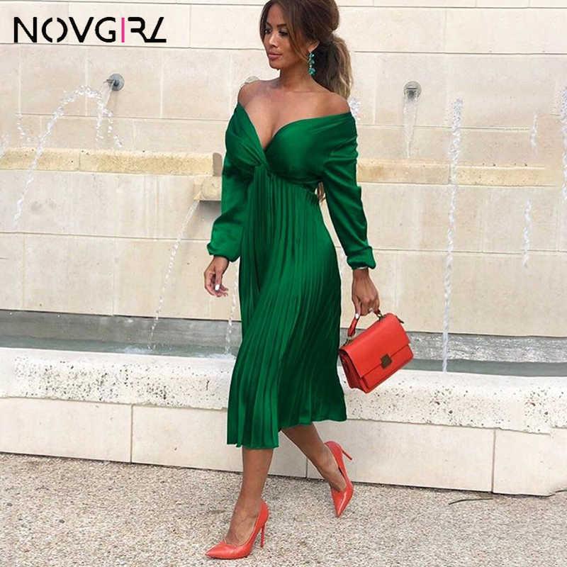 Novgirl أنيقة تناسب و مضيئة مطوي فستان ستان المرأة 2019 الصيف الخريف قبالة الكتف أكمام طويلة للسيدات عادية الأخضر Vestidos
