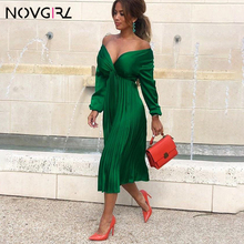 Novgirl Elegante Fit Und Flare Plissee Satin Kleid Frauen 2019 Sommer Herbst Off Schulter Langarm Damen Casual Grün Vestidos