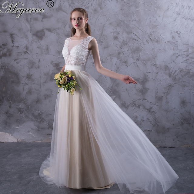 Mryarce Beach Wedding Dresses Illusion Neckline Lace Appliques Flowy Tulle Summer Dress Bridal Gowns With