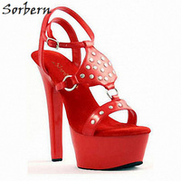 Sorbern Stud Ankle Strap Sandals High Platform Red Heels Sweet Party Decorations Shoes Ladies Sandals Slippers Custom Color