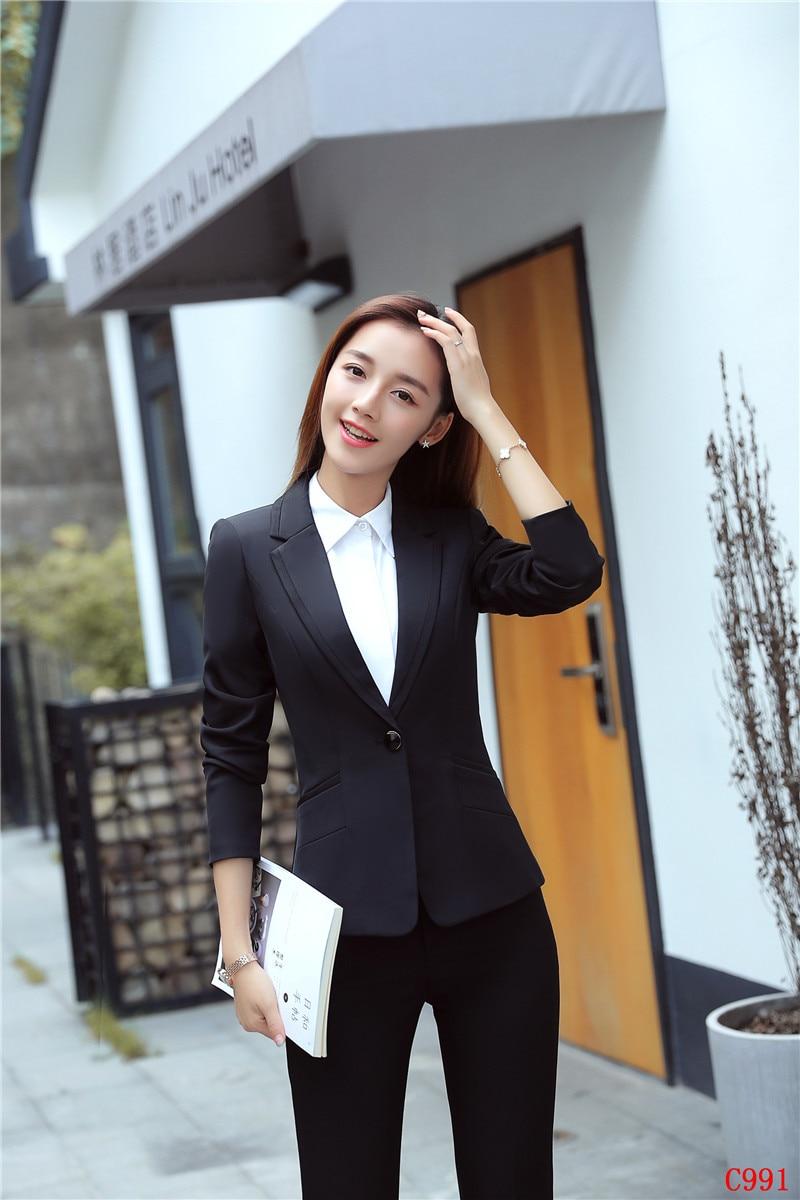 Ensembles Bureau Noir Femmes Nouveau Élégant Costumes Style Et Blazer Avec Pantalon D'affaires Formelle Dames Uniforme Conceptions Veste 17qtw76