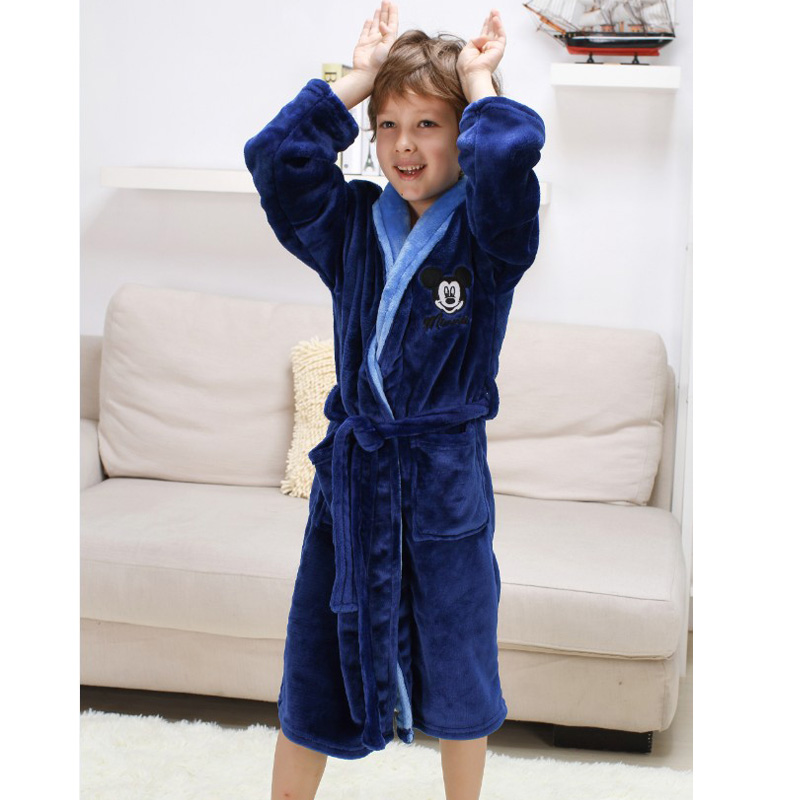 Children Robes Pajamas Thick Flannel Mickey Minnie Hello Kitty Nightwear Robes for 4-16 Years Old Girls Boys Baby Bathrobes