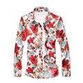 Большие размеры 5XL 6XL 7XL мужская рубашка осень новая с длинным рукавом на пуговицах с цветочным принтом Мужские рубашки Повседневная Цветочная гавайская рубашка - фото