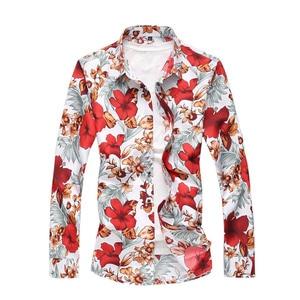 Camisa masculina casual com botões, tamanho 5xl 6xl 7xl, outono, manga longa, com estampa de flores, casual camisa havaiana,