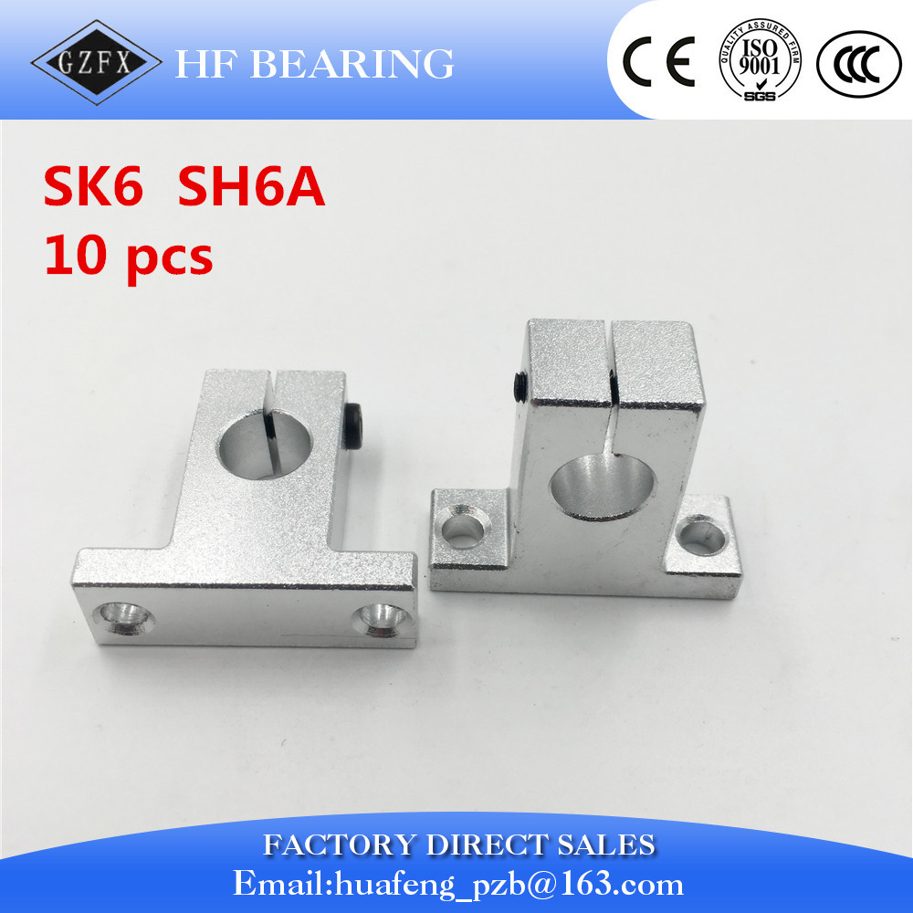 Free shipping 10pcs SK6 6mm Linear Shaft Support CNC Router SH6A for 6mm linear rail rod free shipping 2pcs sk40 40mm shaft support cnc router sh40a