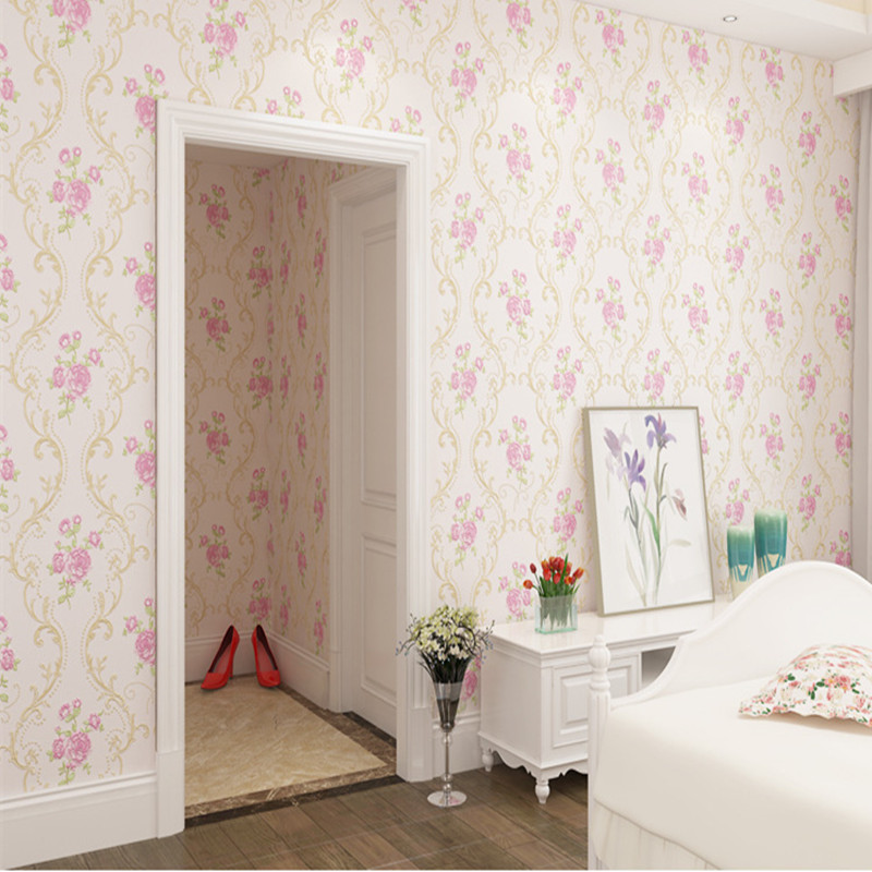 Pink and Purple Floral Wallpaper Roll Flower Wallpaper 3 d Embossed Girls Room Bedroom Wedding Room Wallcovering Wall Papers 7 ncctec liquid wallpaper print roller 180mm rubber roll flower mould quality paint embossed tools