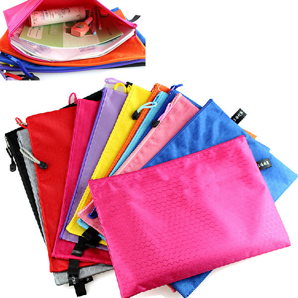 A4 Waterproof Zipper Paper  File Bag, Documents Cover, Pink/orange/blue/green Color Documents Envelope