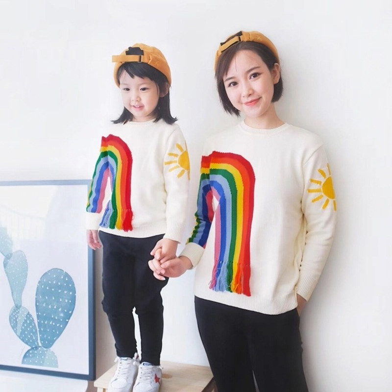 Family Matching Clothing Autumn&Winter Cotton Look Style Sweaters Mother Daughter Clothes Embroidery Cardigan