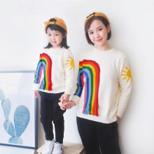Family Matching Clothing Autumn&Winter Cotton Family Look Style Sweaters Matching Mother Daughter Clothes Embroidery Cardigan недорого