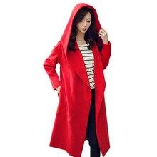 Autumn Winter France USA Russia Wool Hood Lday GIrl Oversize Loose Women Khaki Coat Outerwear Korean Girl Spring  Female OL Tops