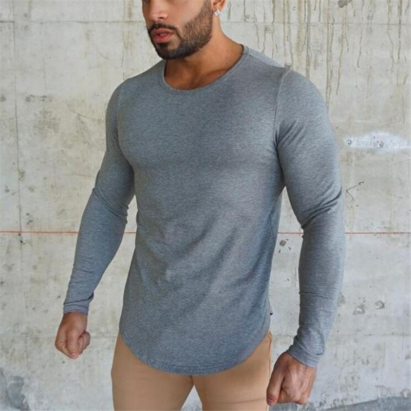 Brand fashion Mens   t     shirt   2018 Spring Autumn Slim longsleeve Fitted   T  -  shirts   male Tops Leisure Bodybuilding Long Sleeve tees