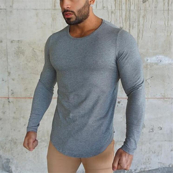 Merk mode Heren t-shirt 2018 Lente Herfst Slanke longsleeve Gepaste T-shirts mannelijke Tops Leisure Bodybuilding Lange Mouw tees
