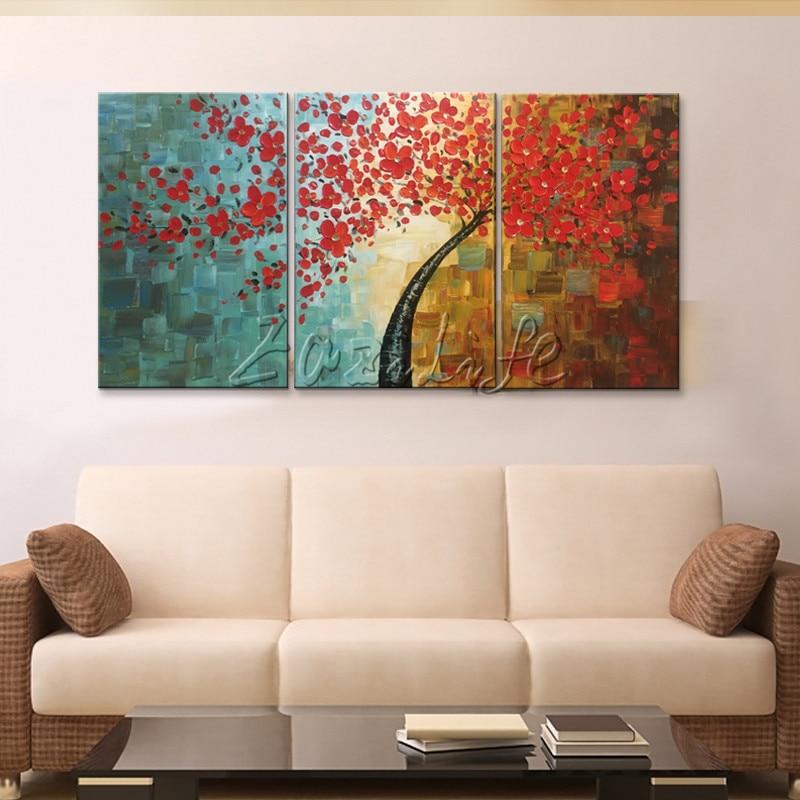 Canvas tree oljemålning 3 delar palettkniv 3D-textur röda blommor - Heminredning - Foto 4