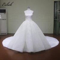 Eslieb Gorgeous Customed Lace Applique Scoop Ball Gown Wedding Dresses Vintage Dubai Bridal Gown Royal Train