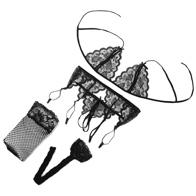 Сексуальное женское белье, комплект из 4 предметов, косплей, кружевной открытый бюстгальтер, Babydoll, стринги, подвязки, порно Нижнее белье, сек... 17