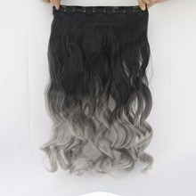24inch Black to Gray Curly Wavy Hair Extentions Clip in