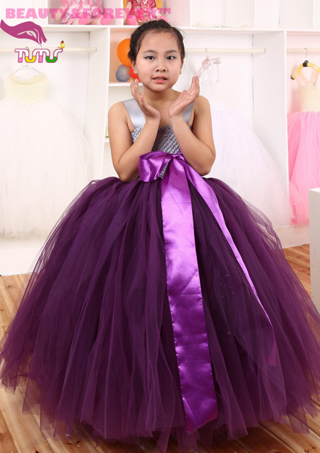 Dark Purple Tulle And Silver Gray Lined Tank Bodice Top Flower Tutu Dress For Wedding