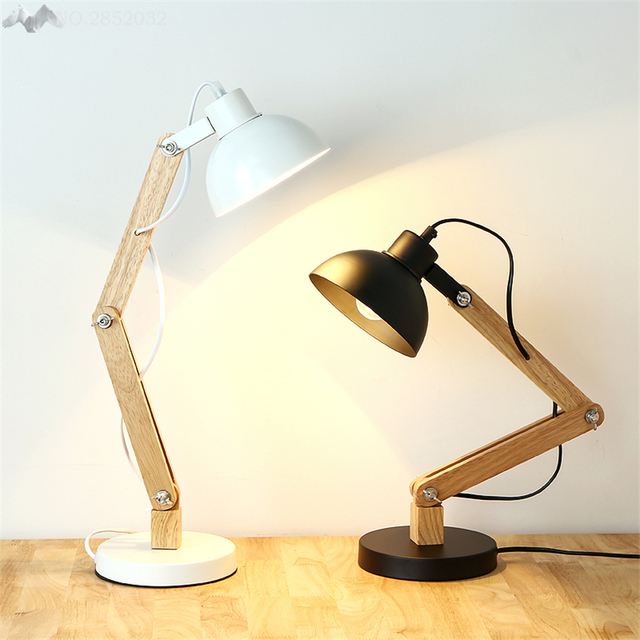JW American Country Wood Wrought Iron Rotatable Table Lamp Wood Art Fold  Table Lamp For Bedroom
