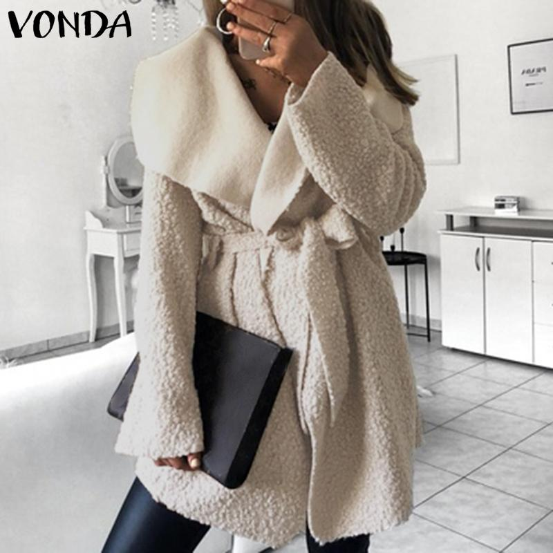 VONDA Women Coat Faux Fur Jackets Sexy Lapel Neck Fuzzy Belted Long Jackets 2019 Autumn Winter Outerwear Streetwear Plus Size in Jackets from Women 39 s Clothing