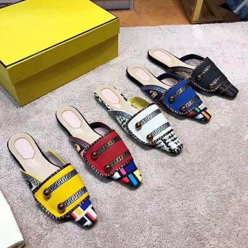 Medio as Zapatillas Pic As Cuadrado Fuera Pie Suave Cuero Del Pisos Casual Pic Mujer Zapatos Sexy Superficial Oro 19ss De Dedo Metal Mulas Botones Señoras xY0qgS