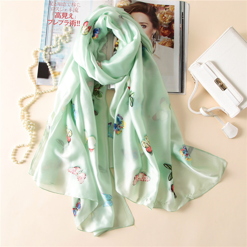 2018 brand summer women   scarf   fashion soft butterfly print long shawls silk   scarves     wraps   pashmina bandana beach hijab