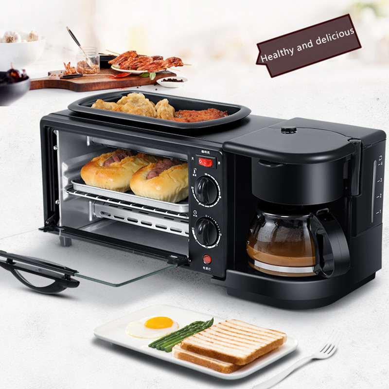 3 In 1 Electric Breakfast Machine Multifunction Coffee Maker Frying Pan Mini Oven Household Bread Pizza Oven Frying Pan For Home3 In 1 Electric Breakfast Machine Multifunction Coffee Maker Frying Pan Mini Oven Household Bread Pizza Oven Frying Pan For Home