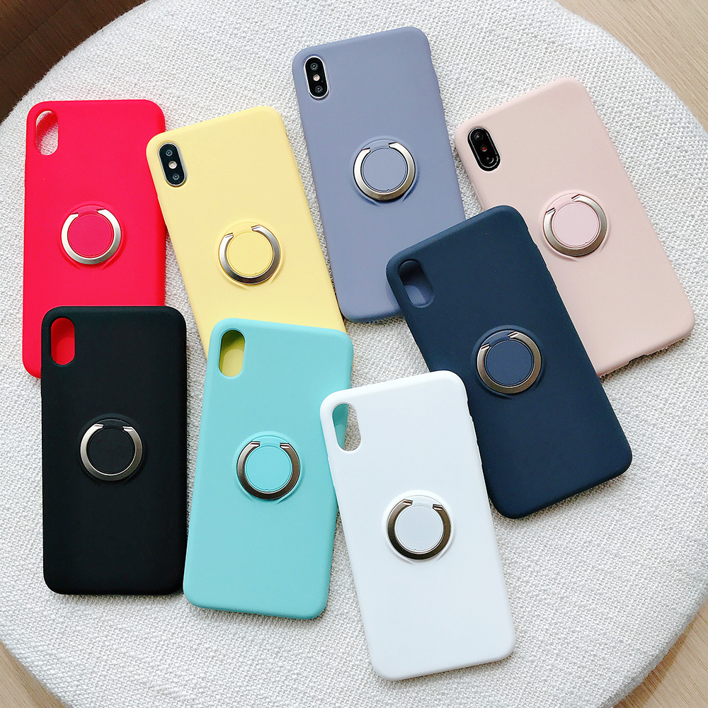 KIPX1110_1_JONSNOW Pure Color Phone Case for iPhone XS XR XS Max 6 6S 7 8 Plus Matte Soft TPU Solid Cover with Ring Holder Capa Fundas