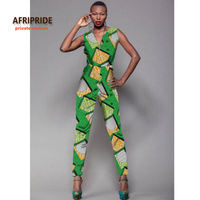 05e98905c8 2017new Fabric Pattern Sleeveless Jumpsuit African Clothes For Women Bazin  Riche Casual V Neck Femme Fashion