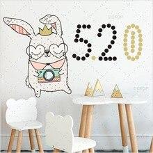 Funny Cartoon Rabbit Dot DIY Color Wall Sticker For Baby Bedroom Cute Animal Vinyl Art Decals Mural Wallpaper Home Decor
