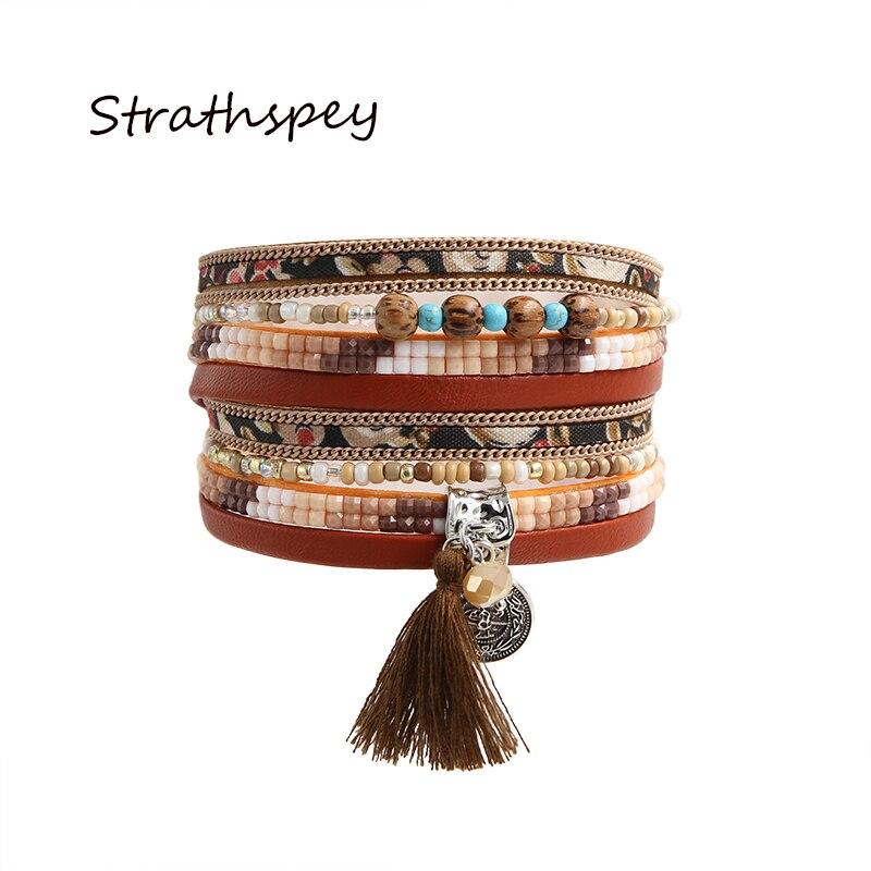 Strathspey Bracelet Pu Bracelets &bangles For Women Pulseira Multi Rows Resin Flora Print Fabric And Beads Tassel Wrap Bracelet