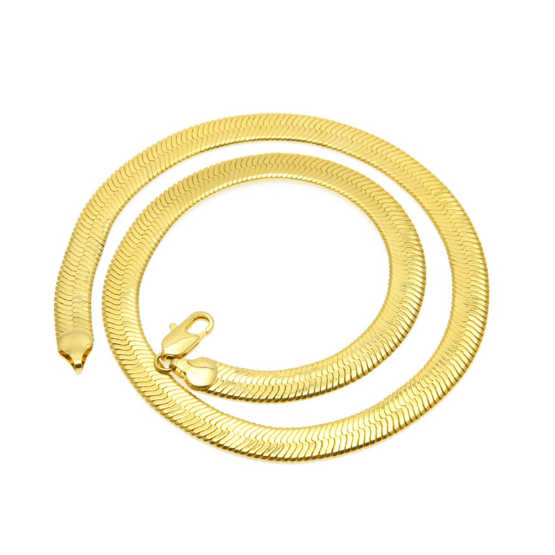 Brand Necklace Long Choker Wholesale 10MM Vintage Casual Gold Color Hip Hop Chain For Men Jewelry Maxi Necklace in Chain Necklaces from Jewelry Accessories
