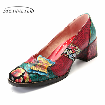 100% Genuine cow leather Retro lady Pumps casual shoes vintage women handmade oxford shoes for women red 2019 spring