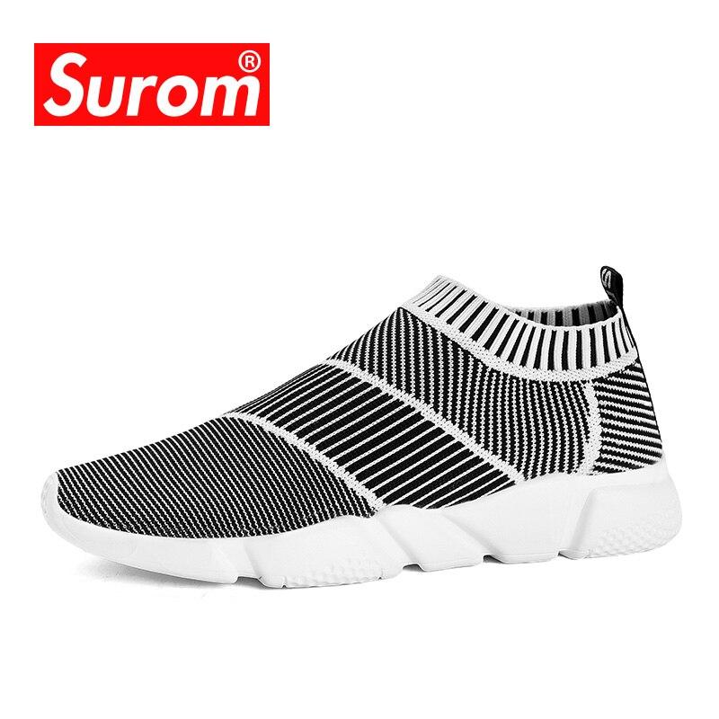 Meias masculinas Das Sapatilhas Novo Estilo Respirável Loafers Leve SUROM Krasovki Deslizamento em Sneakers Primavera Verão Sapatos Casuais Sapatos Masculinos