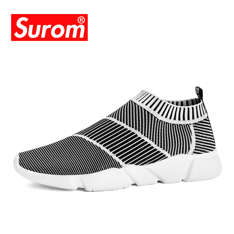 SUROM Mens Socks Sneakers New Style Breathable Loafers Lightweight Krasovki Slip on Sneakers Male Spring Summer Casual Shoes